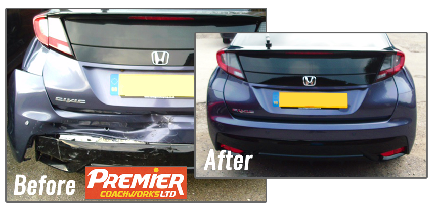 Honda Civic bodywork and bumper accident repair by Premier Coachworks