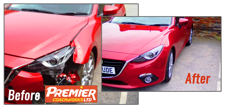 Accident Repair to Mazda bodywork and bumper by Premier Coachworks